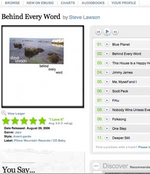 Steve Lawson's Behind Every Word album, for MP3 download on emusic.com, screengrab