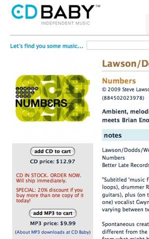 Screen grab of the Lawson/Dodds/Wood page at CDBaby.com